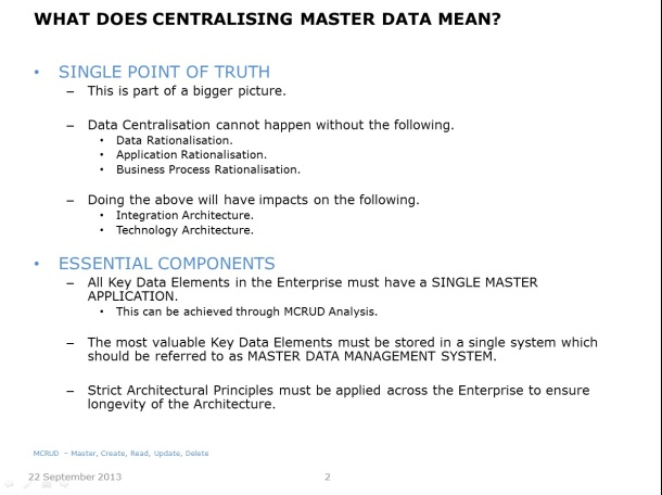 Centralising Master Data - Slide 2
