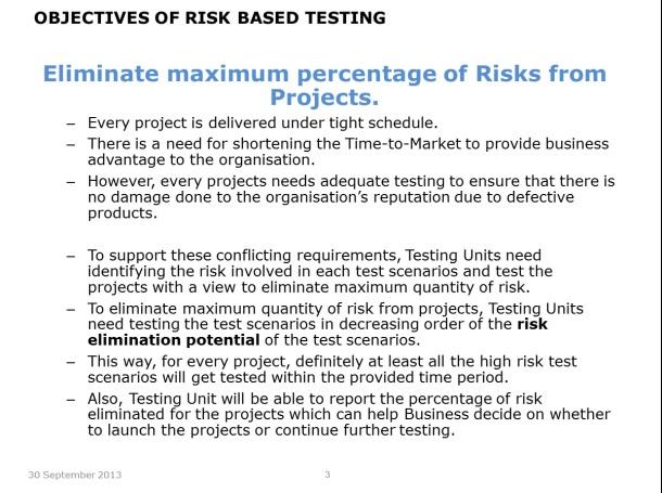 Risk Based Testing – Slide 3