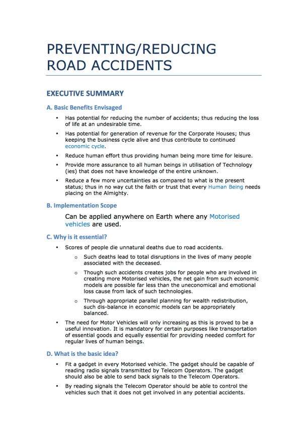 Preventing and or Reducing Road Accidents - Technology + Market + Implementation - Iteration 1 - 20131104 - Page 1